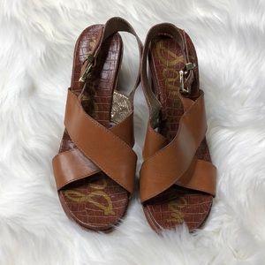 Sam Edelman Brown Leather Cross Block Heel Sandal